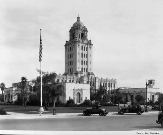 A corner view-full shot of the Beverly Hills City Hall