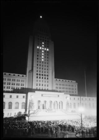 Christmas festival, Los Angeles City Hall steps, Los Angeles, CA, 1930
