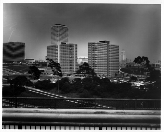 Overlooking Downtown Los Angeles and the Civic Center from an overpass above the Harbor Freeway