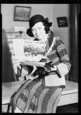 Girl & road maps, Southern California, 1932