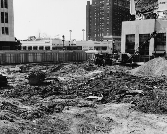 Empty lot being excavated for building construction, Linna Reed Slenderizing Salons, Vincent Simeone, Lenton Hairdressers, Switzer's