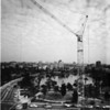 Beatty Pecco Tower Crane in operation in MacArthur Park, looking east toward downtown Los Angeles