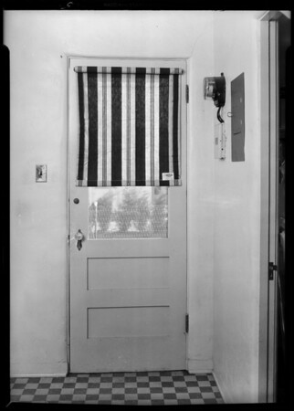 Awnings on house and screen door, Swanfeldt Awning, Southern California, 1931