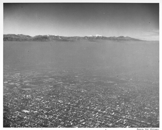 Aerial view of smog feature looking north from Vernon Avenue