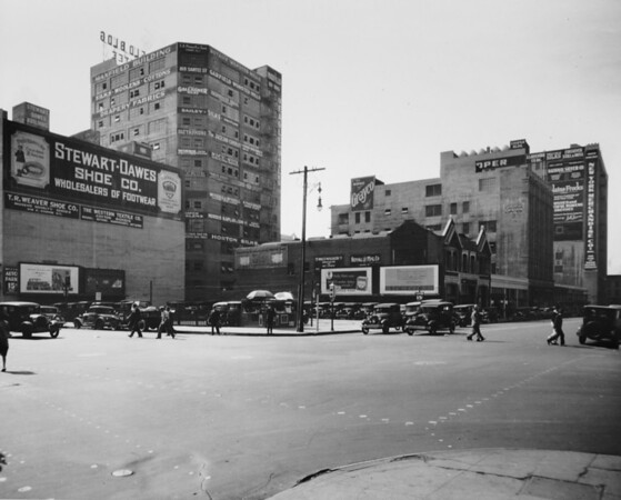Los Angeles Street, at Eighth Street on the southeast corner