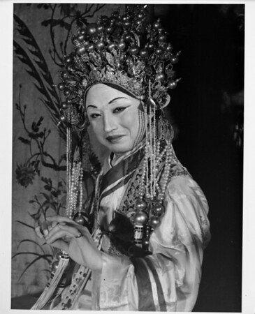 Chinese woman in costume, performer, Chinatown in 1948