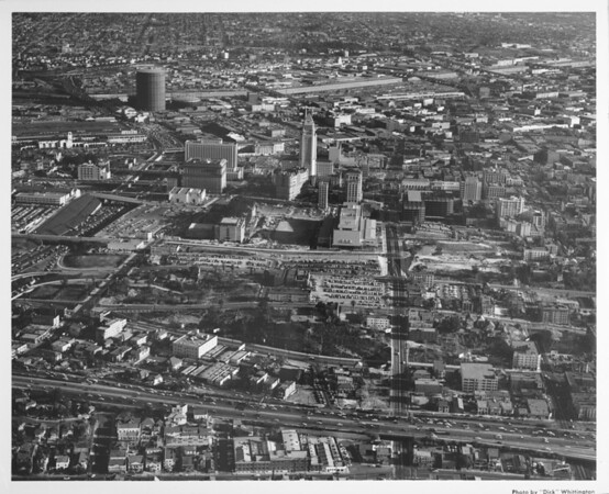 Aerial view, Downtown Los Angeles, Harbor Freeway and Hollywood Freeway, City Hall, future site of Music Center, future site for Water & Power Building, Union Station