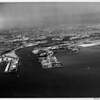 Aerial view facing north over the entrance to the main channel of the Los Angeles Harbor