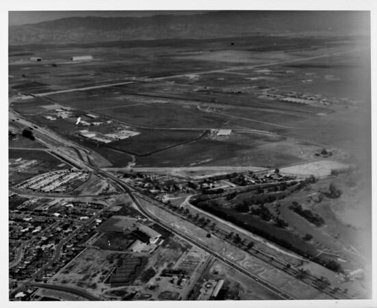 Aerial view facing north over MacArthur Boulevard and Route 73 (Corona Del Mar Freeway) in Newport Beach/Santa Ana just north of John Wayne Airport