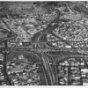 Aerial view, Downtown Los Angeles, Interchange from Harbor Freeway (I-110) to the Hollywood Freeway (US-101)