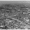 Aerial view of Downtown Los Angeles, Harbor Freeway and Hollywood Freeway, Cesar Chavez Boulevard, Beaudry Avenue