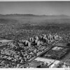 Miracle Mile, Park La Brea, Wilshire Boulevard, May Company (Wilshire Store), Fairfax Avenue, aerial view looking east/northeast into downtown, mountains