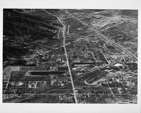 Aerial view overlooking Sun Valley between Glenoaks Boulevard and San Fernando Road