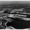 Aerial view facing northeast over the San Pedro Breakwater of the Los Angeles Harbor