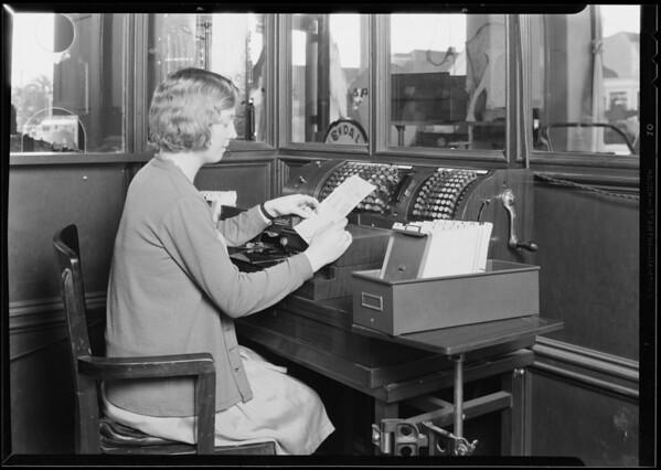 Posting machine at Santa Monica Aeroplane & Auto Parts Co., Santa Monica, CA, 1930