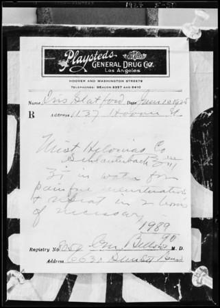 Prescriptions at drug store, Southern California, 1927