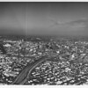 Downtown Los Angeles, aerial view of the I-10 and I-110 freeway interchange