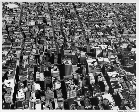 Aerial view of Downtown Los Angeles, Seventh Street, Main Street, Spring Street