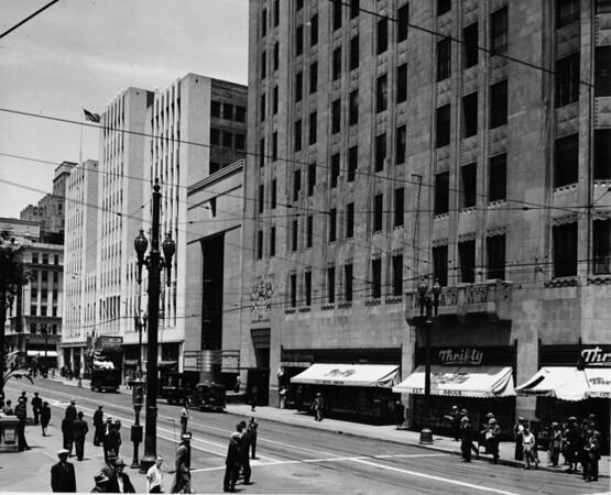 Facing east on the corner of Fifth Street and Hill Street in Downtown Los Angeles