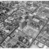 Aerial view of Wilshire Boulevard looking east from the 3700 block, temple, Fishman Building