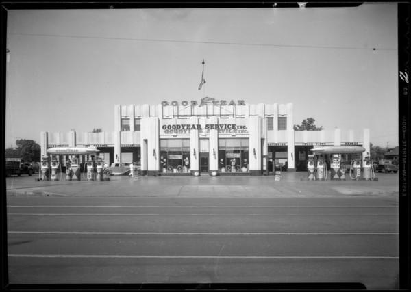 Exterior of building & Philco automobile radio display, Southern California, 1932