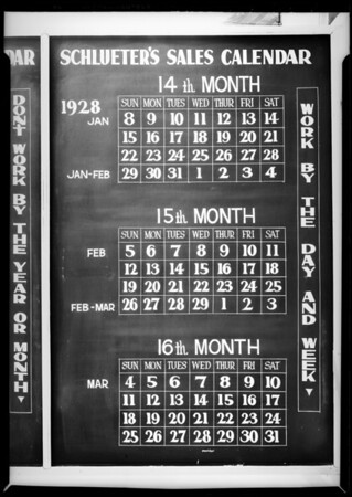 Blackboards and service men, Schlueters Incorporated, Southern California, 1927