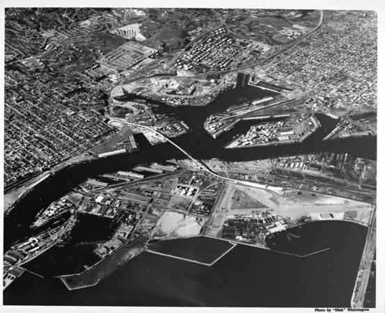 Aerial view of Los Angeles Harbor facing north, Terminal Island, San Pedro, Wilmington.