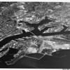 Aerial view of Los Angeles Harbor facing north, Terminal Island, San Pedro, Wilmington.