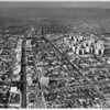 Aerial view, Miracle Mile, Park La Brea, Wilshire Boulevard, Third Street, Fairfax, Hancock Park