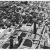 Aerial view of central downtown Los Angeles, Third Street, Harbor Freeway, Pershing Square, Wilshire Boulevard