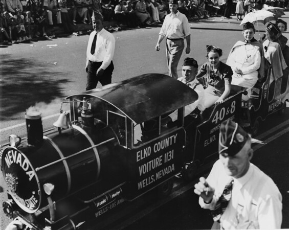 The train from Elko County in Wells, Nevada, in the American Legion Parade