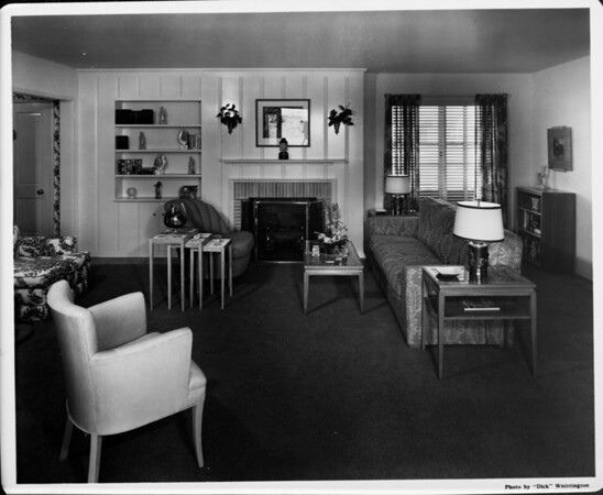 Furnished by Bullock's, living room interior of 1948