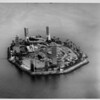 Aerial view over Island Grissom at the mouth of the Downtown Long Beach Marina in Long Beach