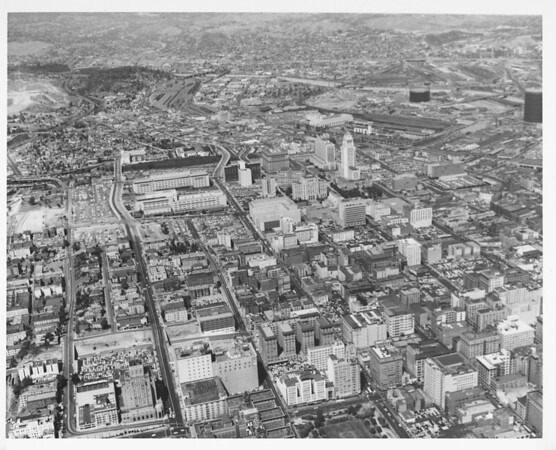 Aerial view, Civic Center, Union Station, looking north toward Dodger Stadium