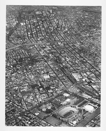 Aerial view of exposition park, sports arena, Los Angeles