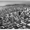 Aerial view, Downtown Los Angeles, Hollywood Hills in background
