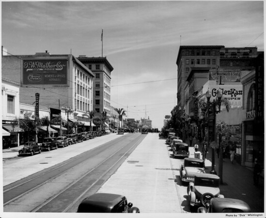Looking east from the two-hundred block of Colorado Boulevard
