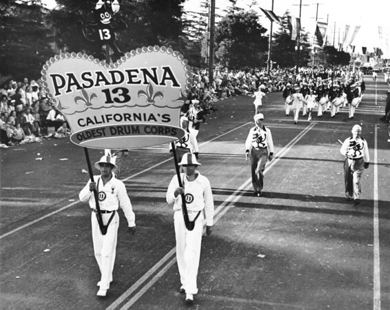 The Pasadena 13 Drum Corps march in the American Legion Parade