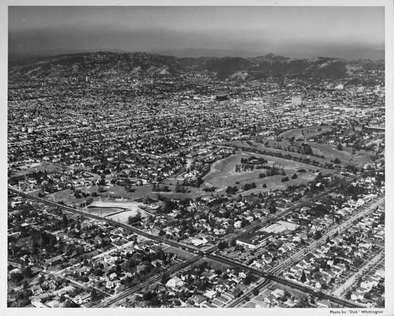 Aerial view, Wilshire Country Club, Third Street, Rossmore Avenue, Highland Avenue