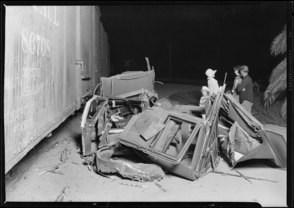 Wreck of automobile and train at Del Mar, CA, 1926