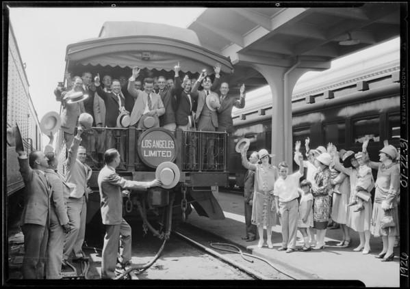 Burroughs adding machine, men leaving on train, Charles Bird, Southern California, 1926