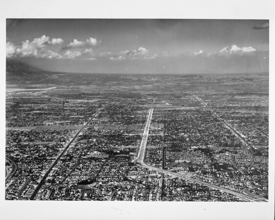 Aerial view looking east towards Azusa over Alhambra and Monterey Park