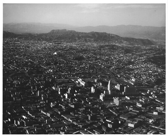 Aerial view overlooking Downtown Los Angeles, Civic Center, City Hall, County Criminal Courts Building, Hall of Justice, City Hall South, Parker Center, Courthouse