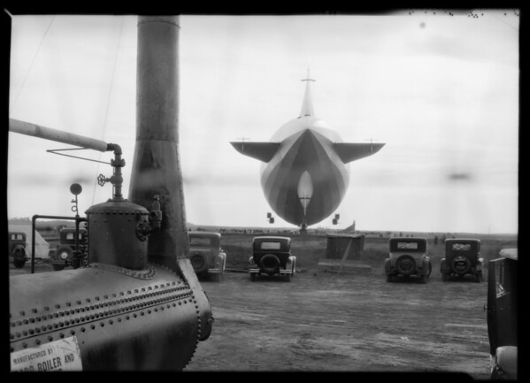 Gas equipment for refueling Graf Zeppelin, Southern California, 1929