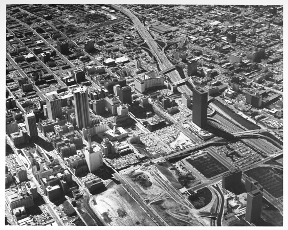 Aerial view of central downtown Los Angeles, Pershing Square, Wilshire Boulevard, Harbor Freeway, Fourth Street, Grand Avenue