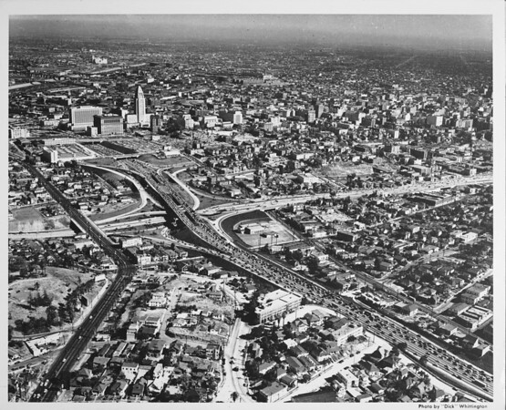 Aerial view of Downtown Los Angeles, Interchange at the Harbor Freeway and Hollywood Freeway, Cesar Chavez Boulevard