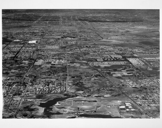 Aerial view of looking north on Vermont Avenue from Unocal Oil Refinery at Wilmington