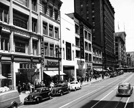In Downtown Los Angeles facing north on South Broadway between West Eighth Street and West Seventh Street