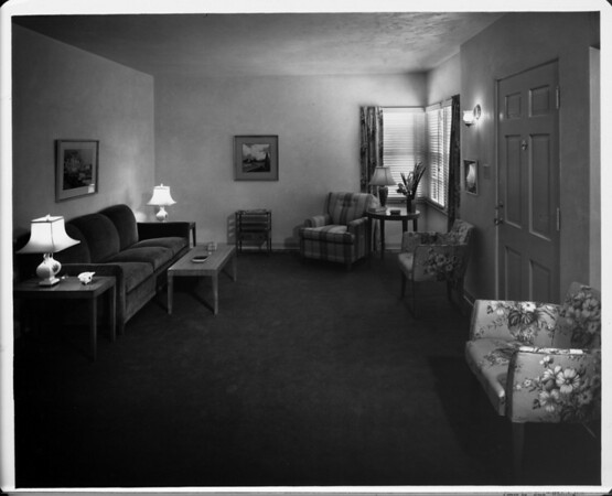 Furnished by Bullock's, living room of 1948