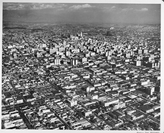 Aerial view of downtown Los Angeles looking north by northeast